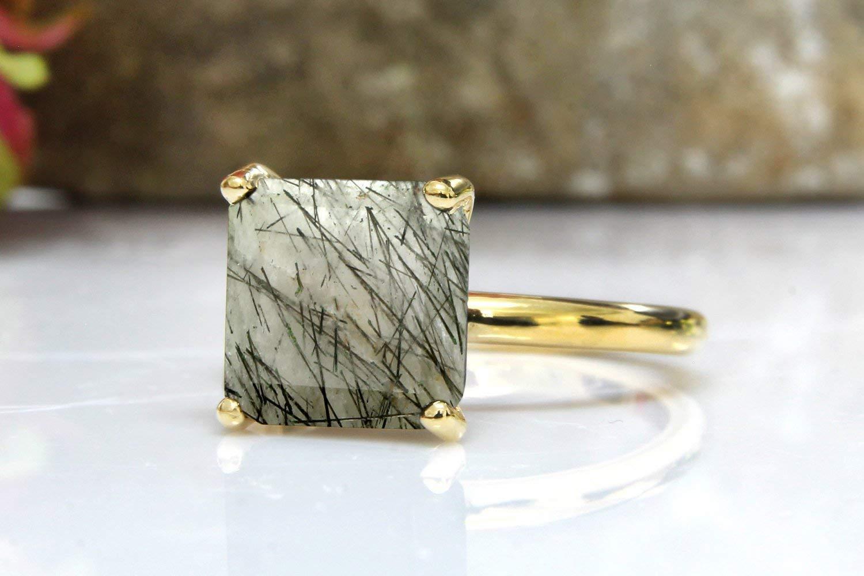 gold stacking ring,back rutilated quartz ring,gemstone ring,delicate ring,prong setting ring,semiprecious rings