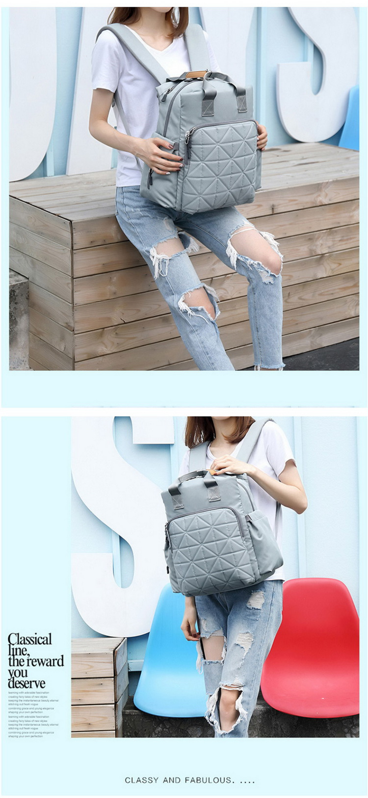 Fashion Multifunction Mummy Bag Baby Diaper Backpack Travel Bag for mom