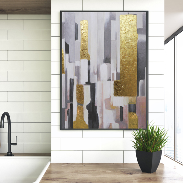 3d Printing Abstract Gold Color Block Painting Foil Poster Print