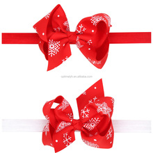 Baby Girls Hair Elastic Bands new Ribbon Snow Patterns Bows Kids Infant Girls Christmas Flower Headbands