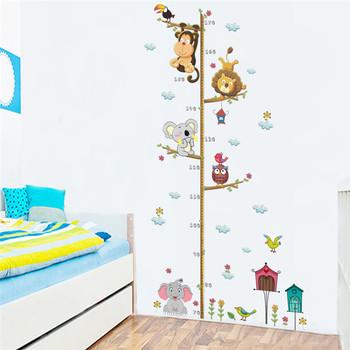 Zooyoo diy monkey lion children height chart wall sticker