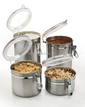 Stainless Kitchen Canisters   4 Piece Canister Sets Kitchen Canisters Stainless Steel Clamp