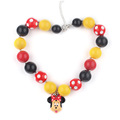 New Child Resin Cartoon Mickey Charm Design Girls Gift Items Yellow Color Chunky Ball Beads Bubblegum