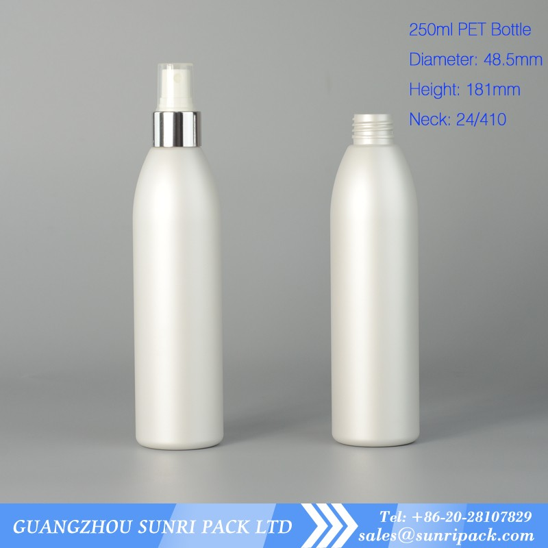 empty 250ml silvery color metallic color PET plastic bottle