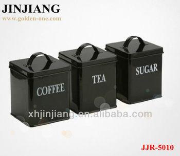 3pcs Black Red Spray Square Iron Tin Canister Set Tea Coffee Sugar Jars