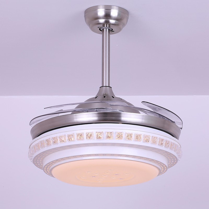 Modern living room crystal ceiling fan simple double-layer restaurant fan light LED light fan chandelier