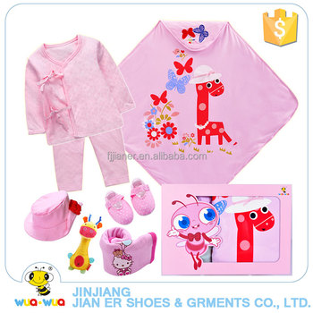 Pink sweet style newborn baby girls 2 piece clothes gift set