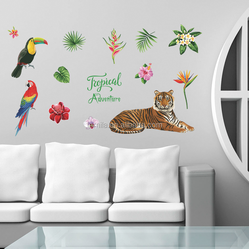 Home decorative tiger animal wall sticker decoration kids room living room wall decals home decor hot sell sticker