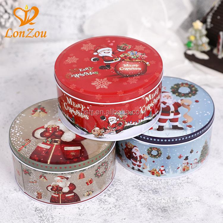 Round Metal Tin Custom Baking Gift Biscuit Tin Christmas Cookie Tin Personalized Cookie Tin Christmas Blue Snow Cookie Tin