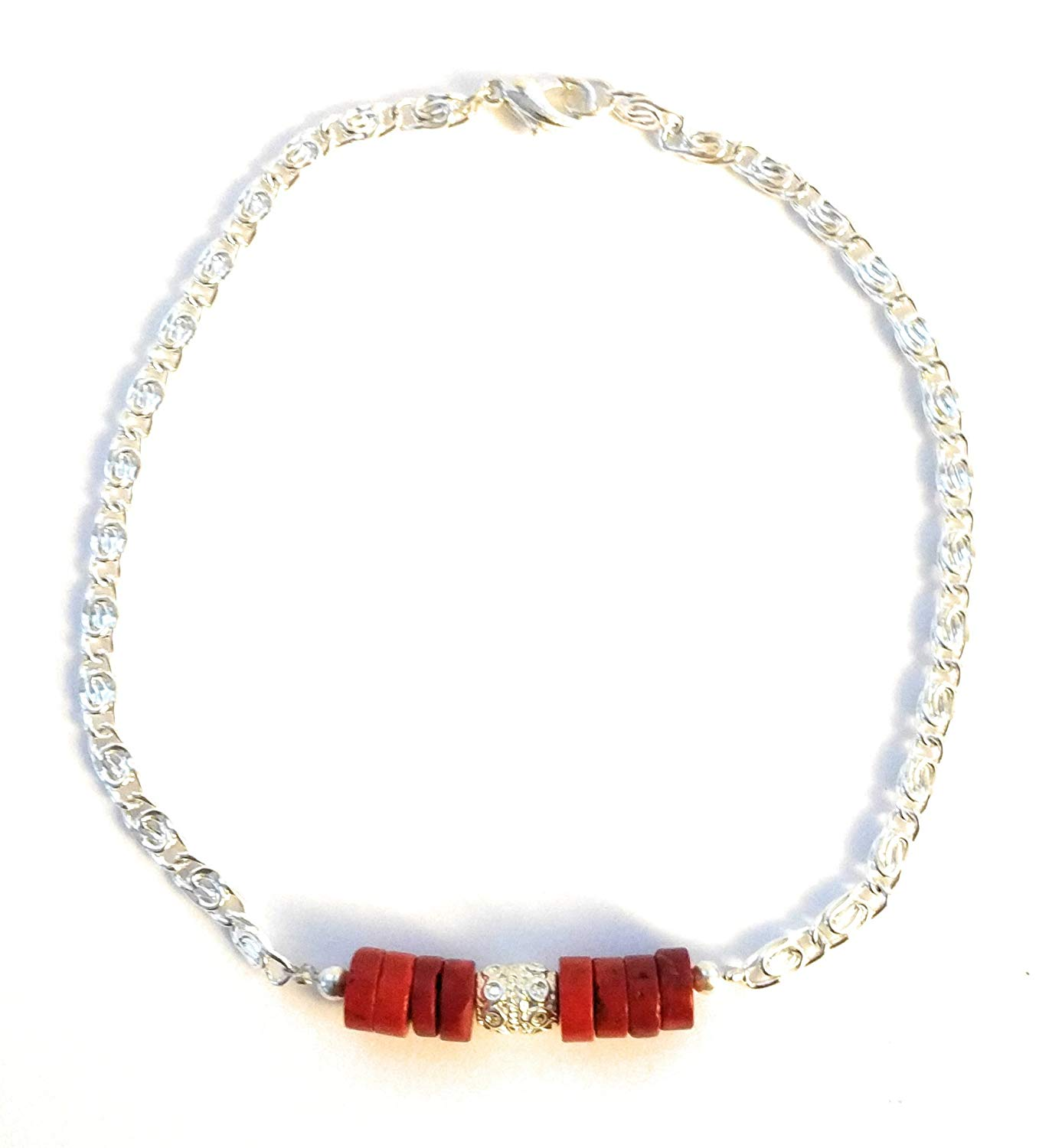 Las Silver Anklet Red Turquoise Wide Ankle Bracelet Chain 11 Inch