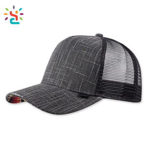 Chambray 5 panel 100 cotton baseball cap Wholesale Sublimation Mesh Foam Trucker sport Cap Dark Grey