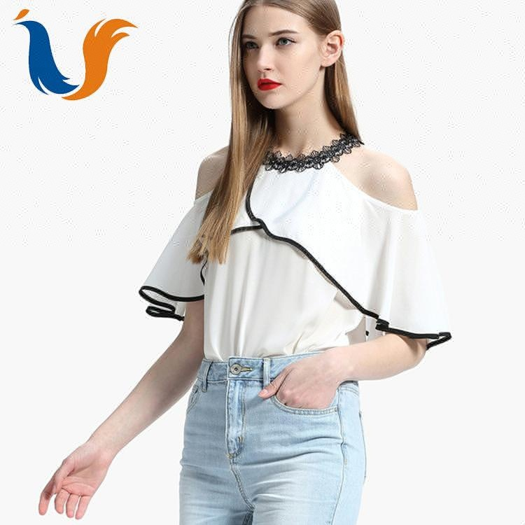 Nieuwe collectie custom Unieke flounce chic womens chiffon lady blouse & top lotus ontwerp prinses snijden meisjes off shoulder blouse