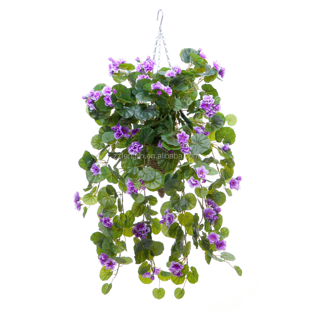 Manufacturer artificial hanging baskets artificial for Artificial flowers decoration for home
