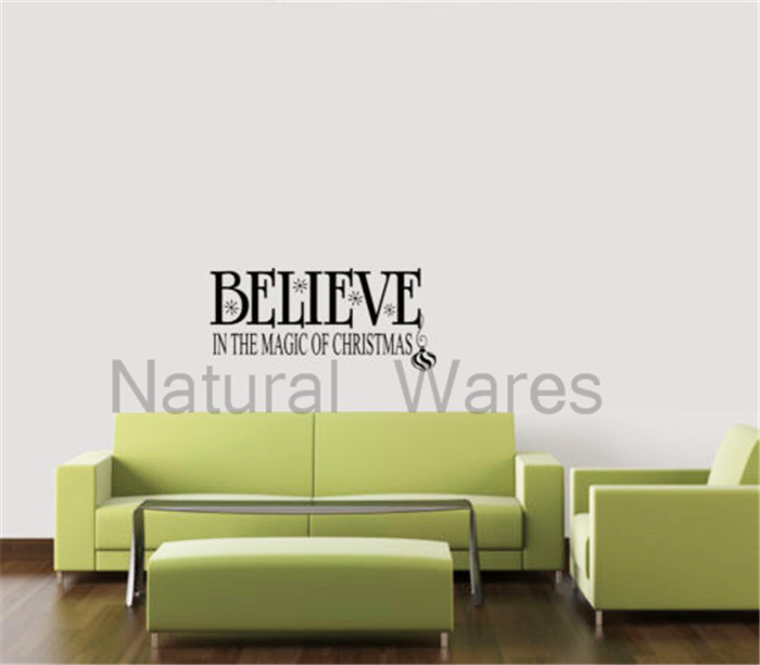 Frosted Glass Wall Believe Stickers Creative Wall Art Decoration Christmas Decals Home Decor