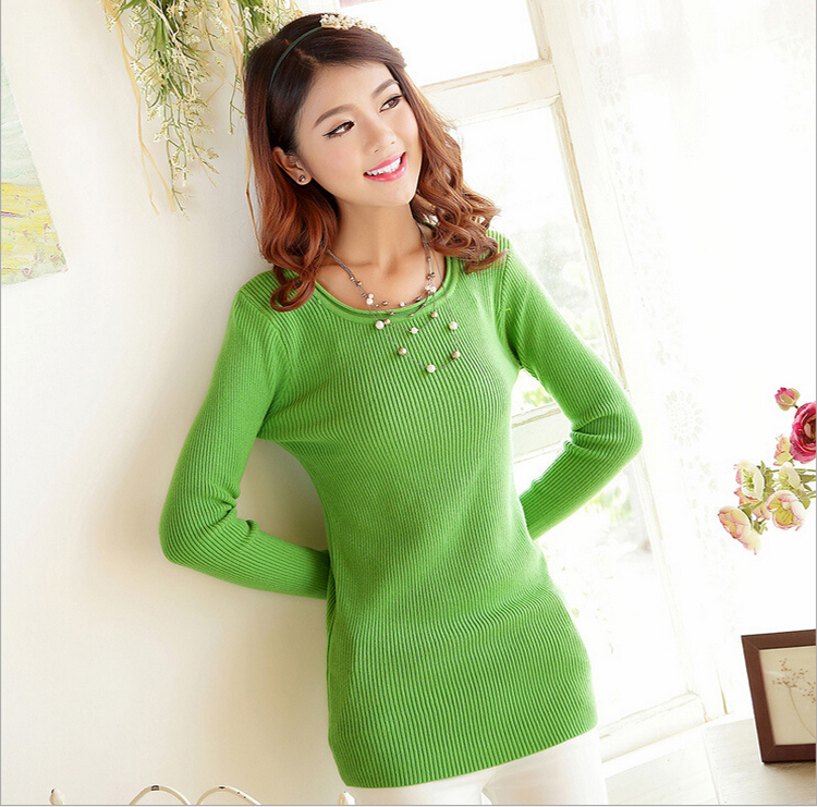 Free Shipping!2014 Autumn Winter Korean style round collar solid women knitwear,hot selling  casual sweater,4colors,Free sizes