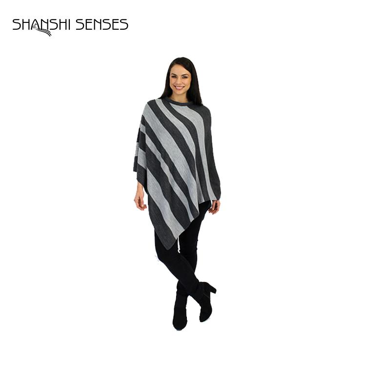 大型黒と白のストライプアクリルファッションポンチョ用女性