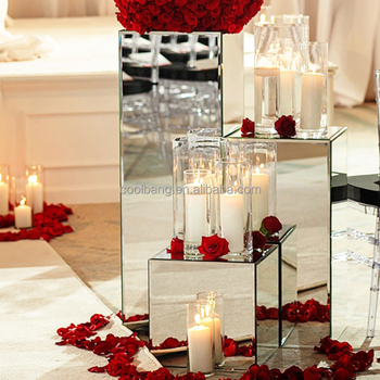 Top Ceremony Decoration Mirrored Pedestal Flower Stand Wedding