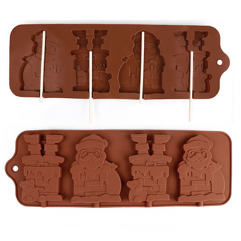 Kitchen Bakeware Fondant Mould Ice Pop Molds With Plastic Sticks Christmas Santa Claus Shape Silicone Chocolate Lollipop Mold