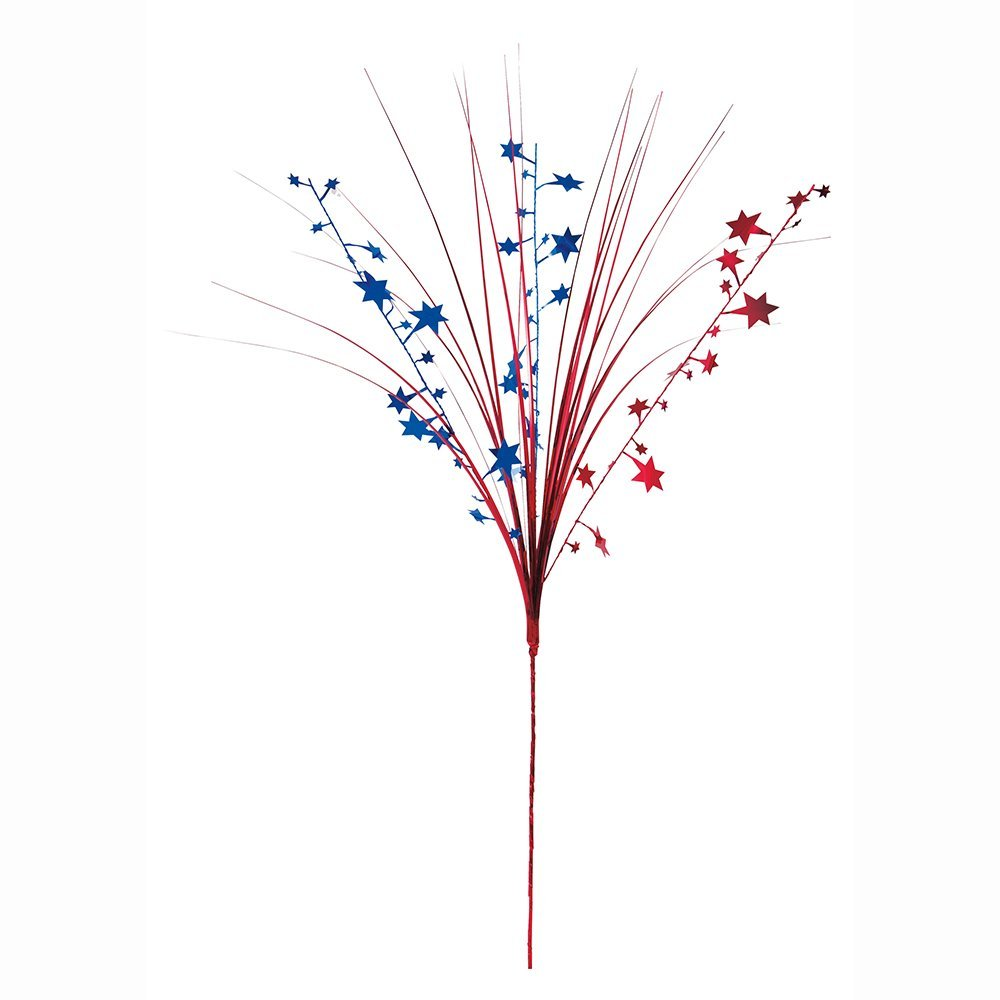 """19"""" Red and Blue Stars Foil Spray Patriotic Decoration"""
