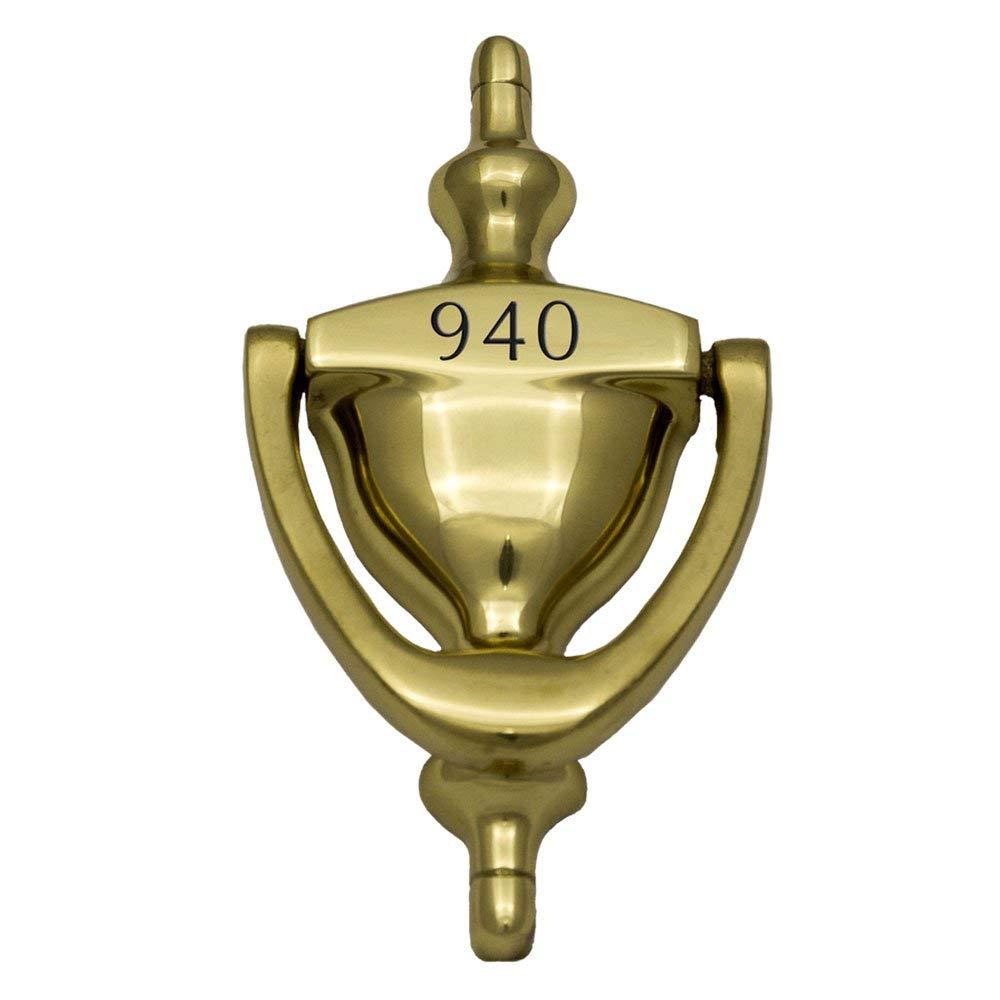 "Prestige Plaques Personalized Door Knocker, Solid Brass, Engraved, 6"" x 3.125"""