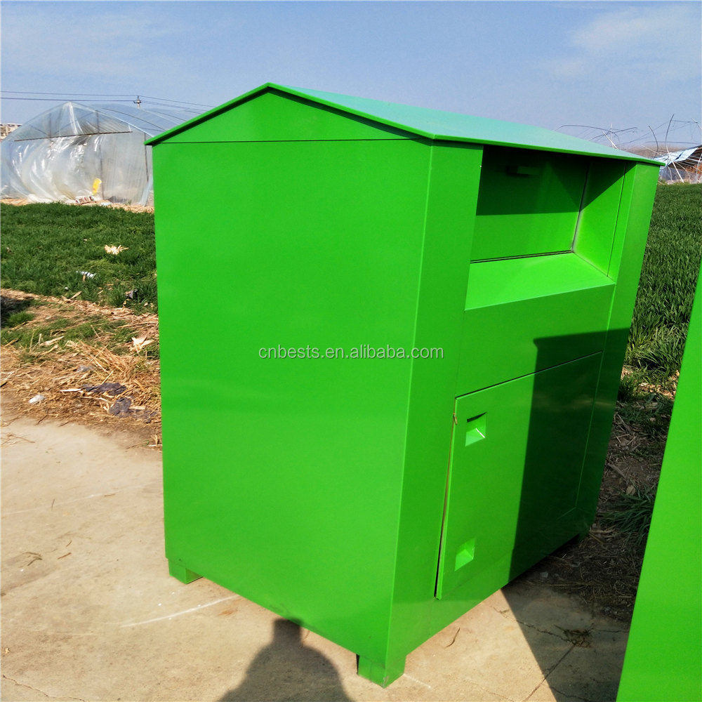 Metal Textiles Collection Clothing Recycling Bin for sales