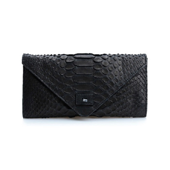 Genuine Python Wallet Snake Clutch Bag for Ladies Black Handmade