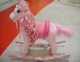 78x28x68cm promotional customized pink children plush rocking angel horse toy with pink long hair&wooden base