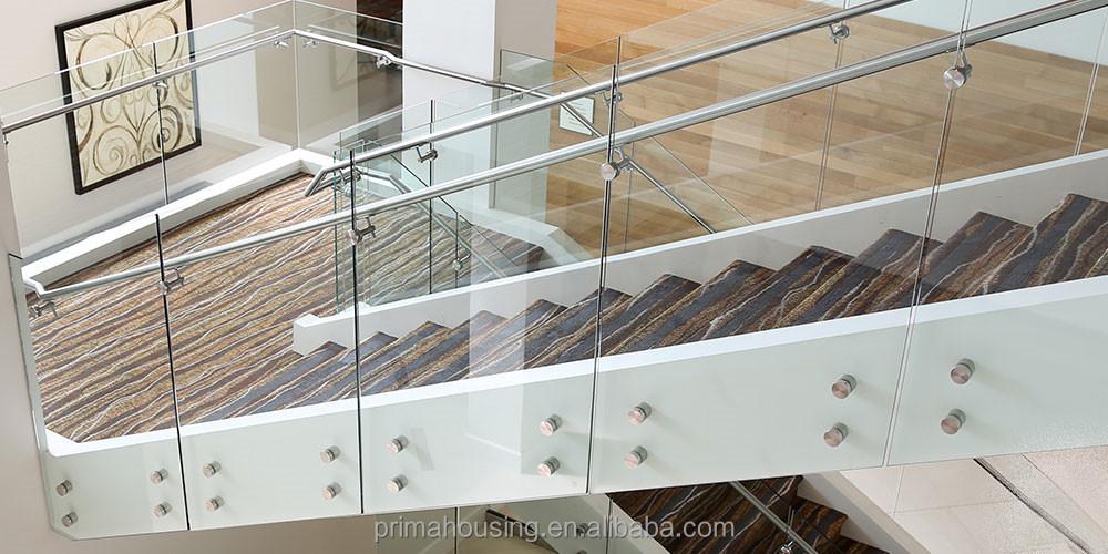 Indoor glass railing exterior stair handrail decorative for Exterior glass railing