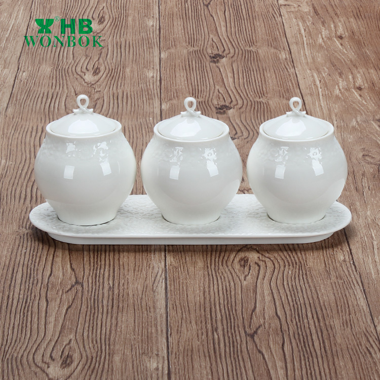 High grade food safe storage ceramic small spice condiment containers
