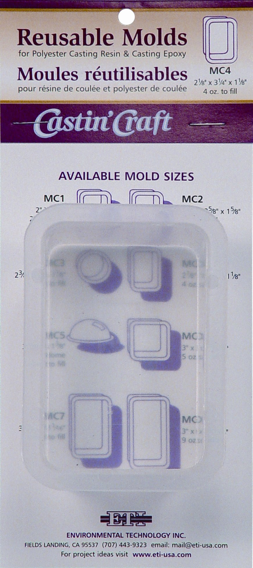 Environmental Technology 2-1/8-Inch by 3-1/4-Inch by 1-1/8-Inch Castin' Craft Carded Poly Mold, MC-4