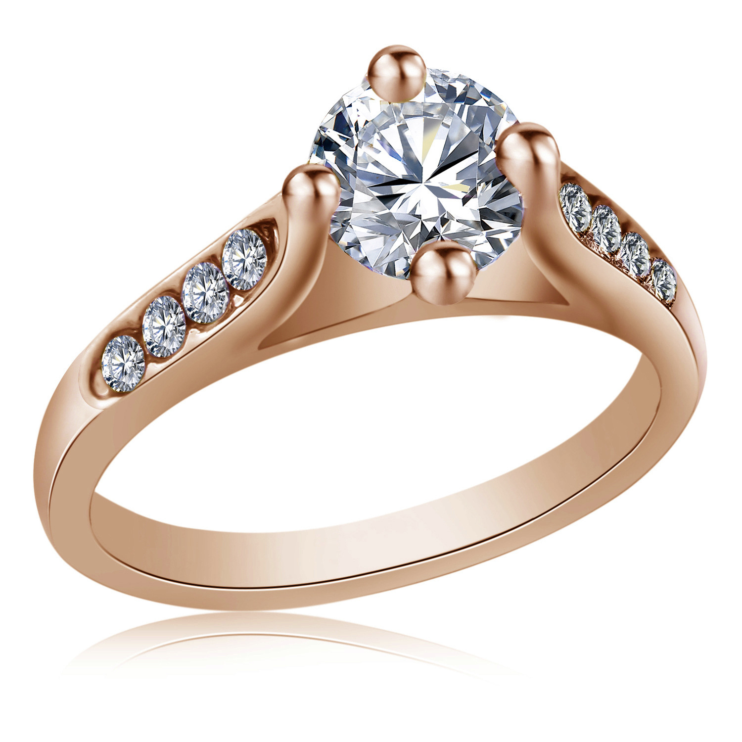 18K gold plated Eiffel Tower Ring Color retention CZ Ring plated platinum