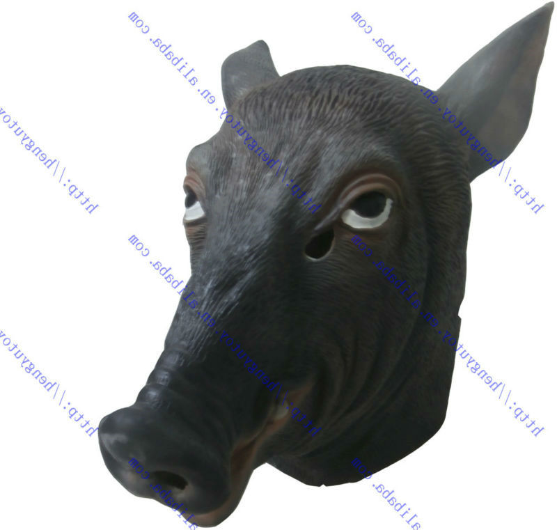 Realistic Pig Head Mask Full Head Latex Animal Masks Halloween Costume