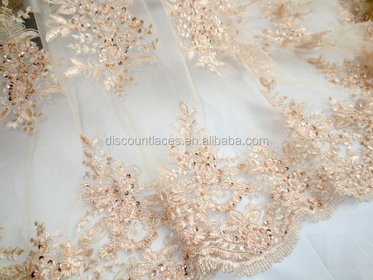 China made french lace lady fashion dress fabric wholesale for French lace fabric for wedding dresses