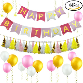 Umiss 44 Pcs Rainbow Theme Birthday Decorations SetHappy Banner Balloons Tissue Tassel Garland
