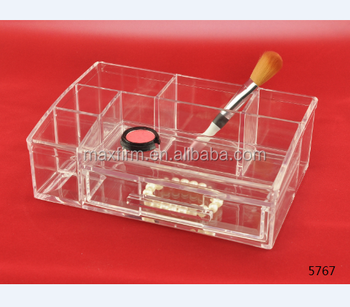 professional transparent 100% acrylic cosmetic organizer with drawer plastic storage tray dresser makeup holder