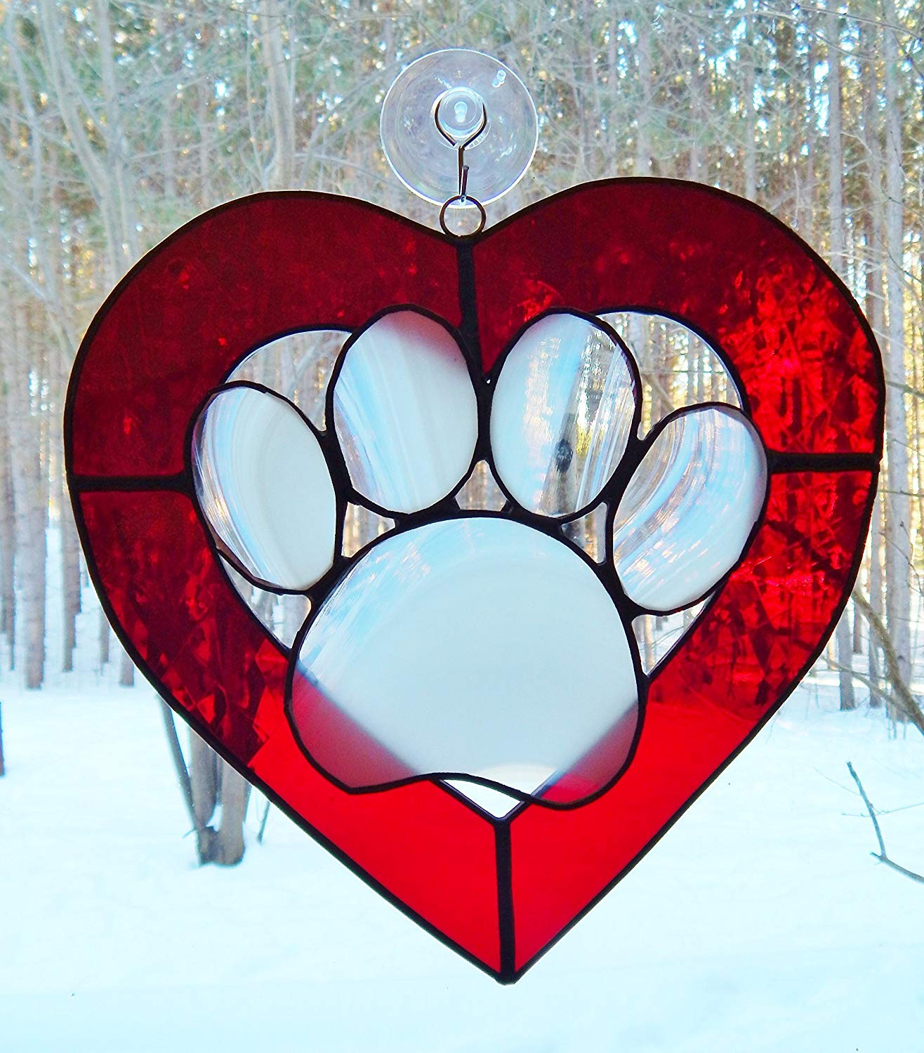 Paw print/Heart in Stained Glass - True Love Red and Snowy White