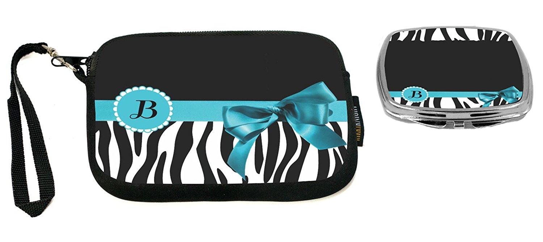 "Rikki Knight Letter"" B"" Sky Blue Zebra Bow Monogram Design Neoprene Clutch Wristlet with Matching Square Compact Mirror"