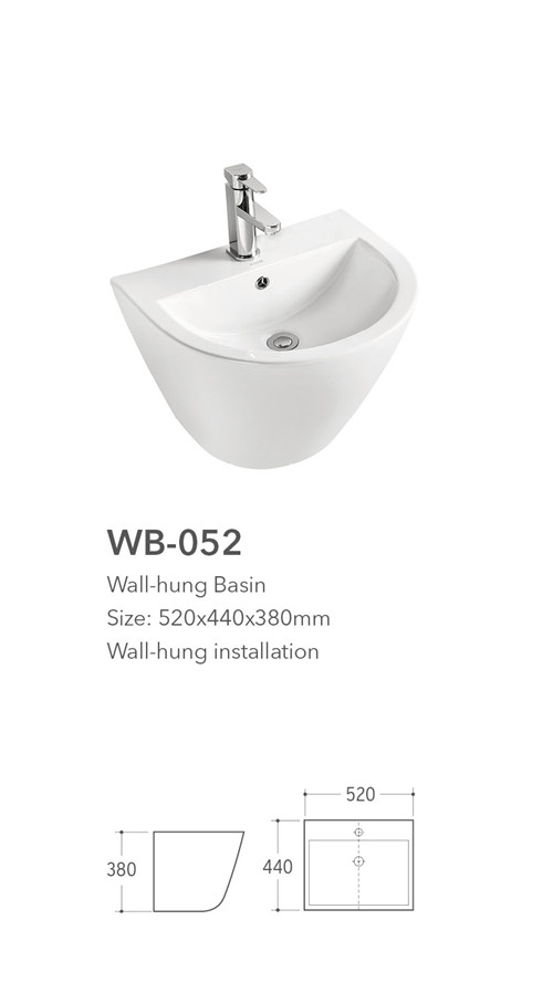 hot sale bathroom white color wall hung basin