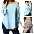 Women s Large Size Slim Polyester Cotton Off Shoulder Slash neck Casual Long Sleeve Blouse Top