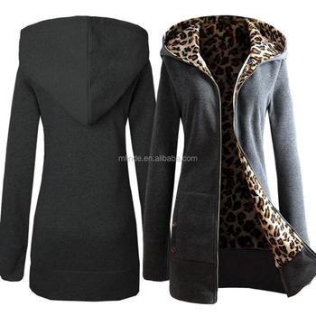 d6d4f4ad432 Women Plus Size Velvet Thickened Hooded Sweater Leopard Zipper Coat  Sweatshirts Wholesale Custom