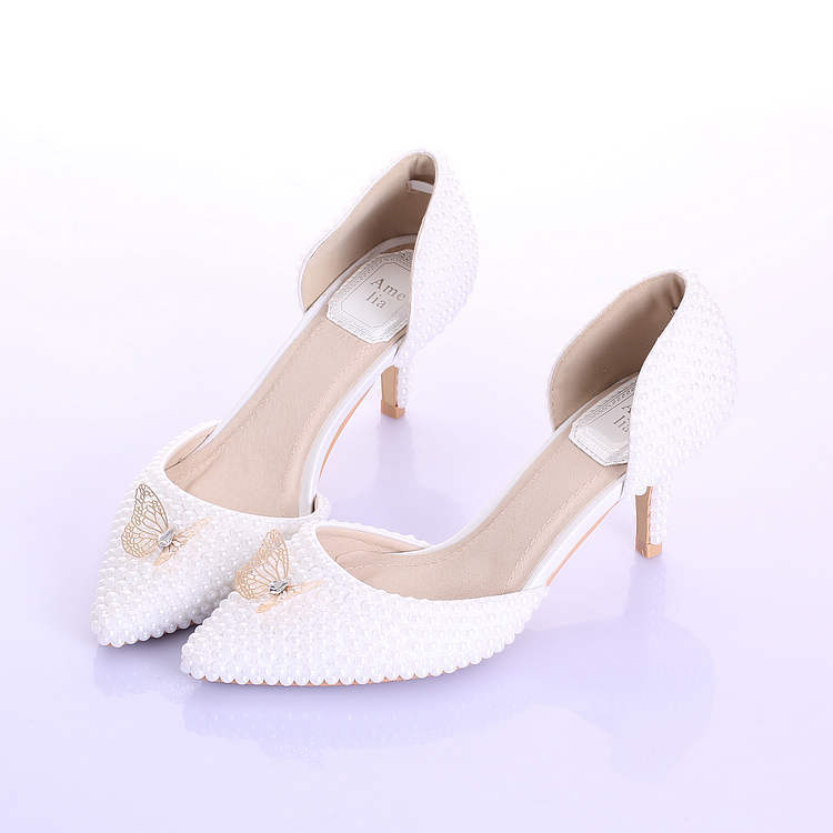Get Quotations  C2 B7 2015 New Fashion Wedding Shoes White Pearls Pointed Toe Bridal Dress Shoes Elegant Gold Bow Lady