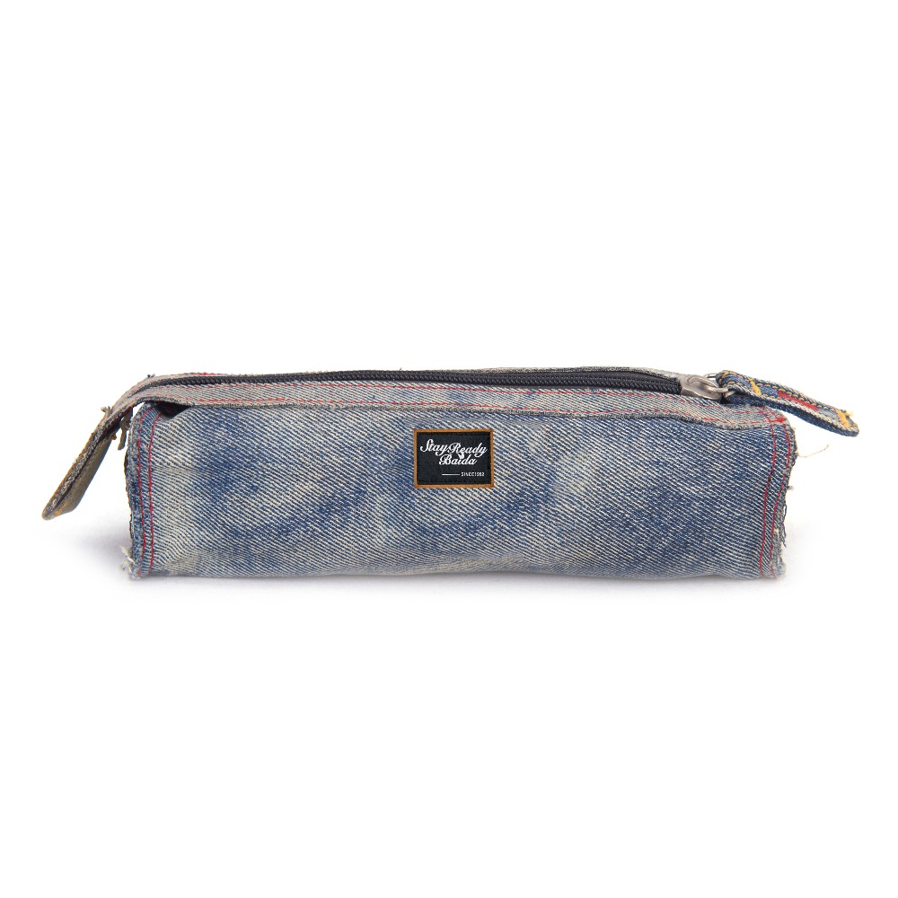 Factory Supply Sublimation Pen Box Round Wash Jeans Pencil Case
