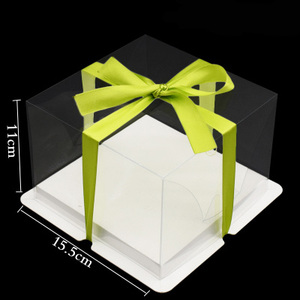 Wholesale 6 inch 8 inch 10 inch clear PVC transparent birthday cake packaging box barbie Butter wedding cake box