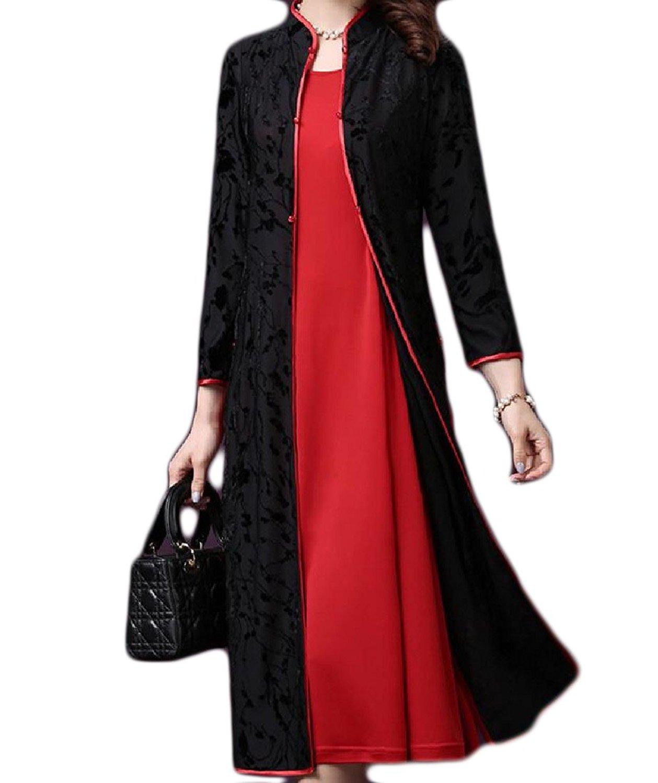 GodeyesWomen Godeyes Women's Solid Banquet Novelty Printed 2Pcs Chinese Qipao Dress