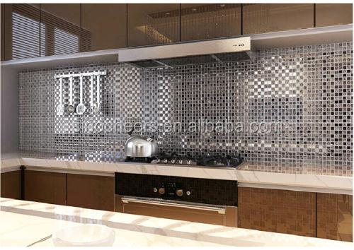 Zilveren spiegel tegel glasmozaïek keuken backsplash tegels ...