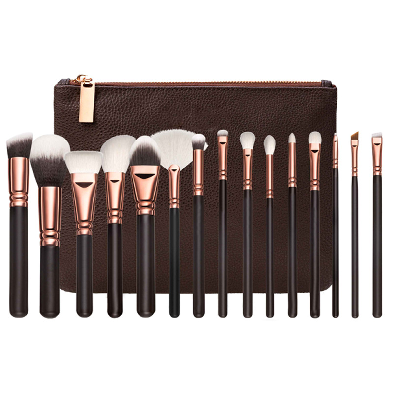 Top China 15pcs animal hair rose gold makeup brush set with zipper bag hot sales make brush set broches para maquillaje