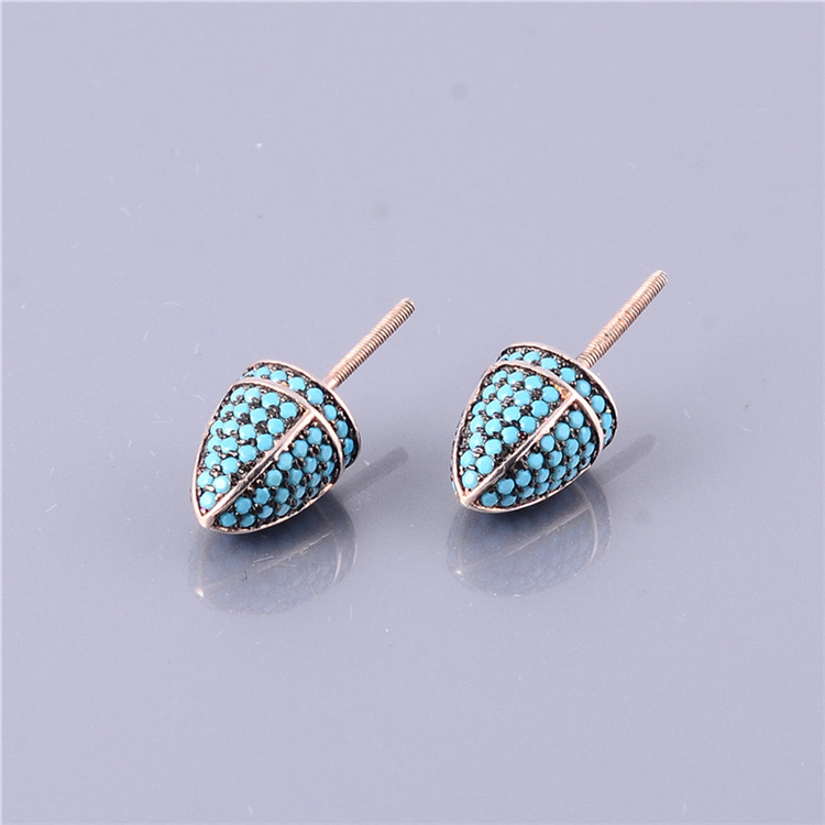 Turquoise Blue Beads Micro Pave Bronze Plated Stud Earrings