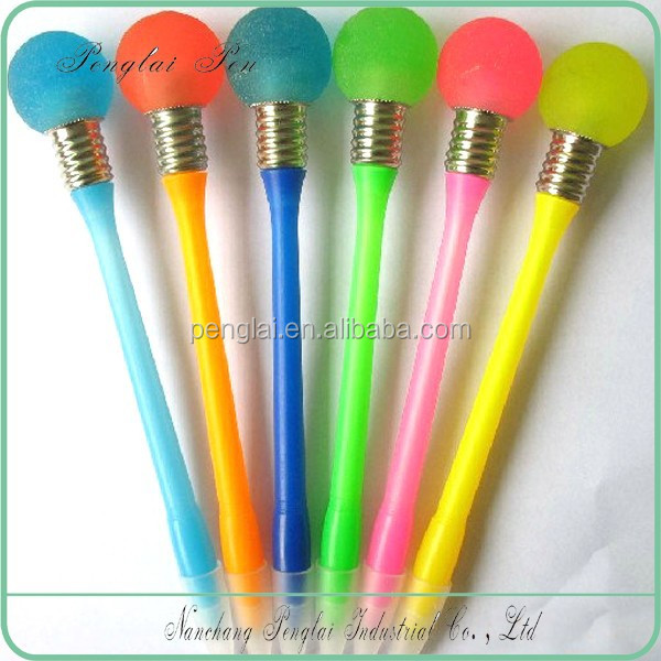 2017 Novelty top selling bulb shape ball pen with led light,pen light bulb