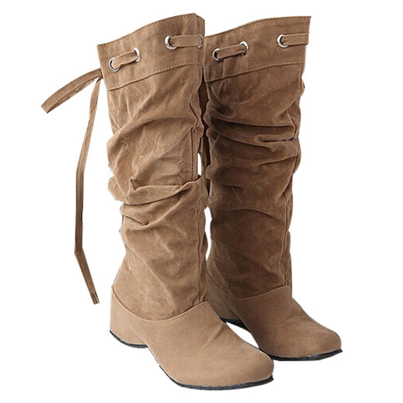 2015 New Brand Spring Autumn Women Boots Mid Calf Suede Boots Increasing High Heels Shoes Woman Winter Shoes Size 35-43 DX2158