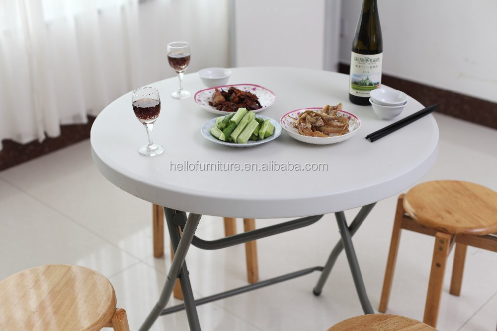 round folding coffee table, plastic round folding table for recreation